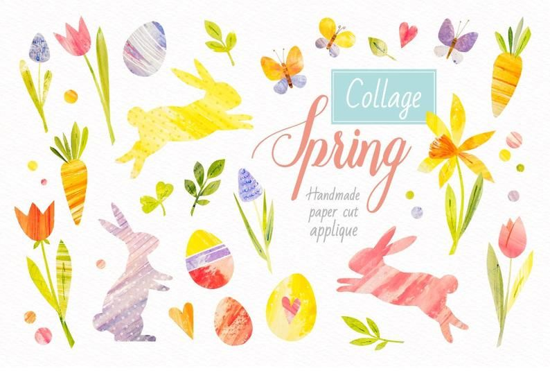 Watercolor Spring Clipart Png Spring Flowers Clip Art Easter Etsy Handmade Collage Spring Clipart Clip Art