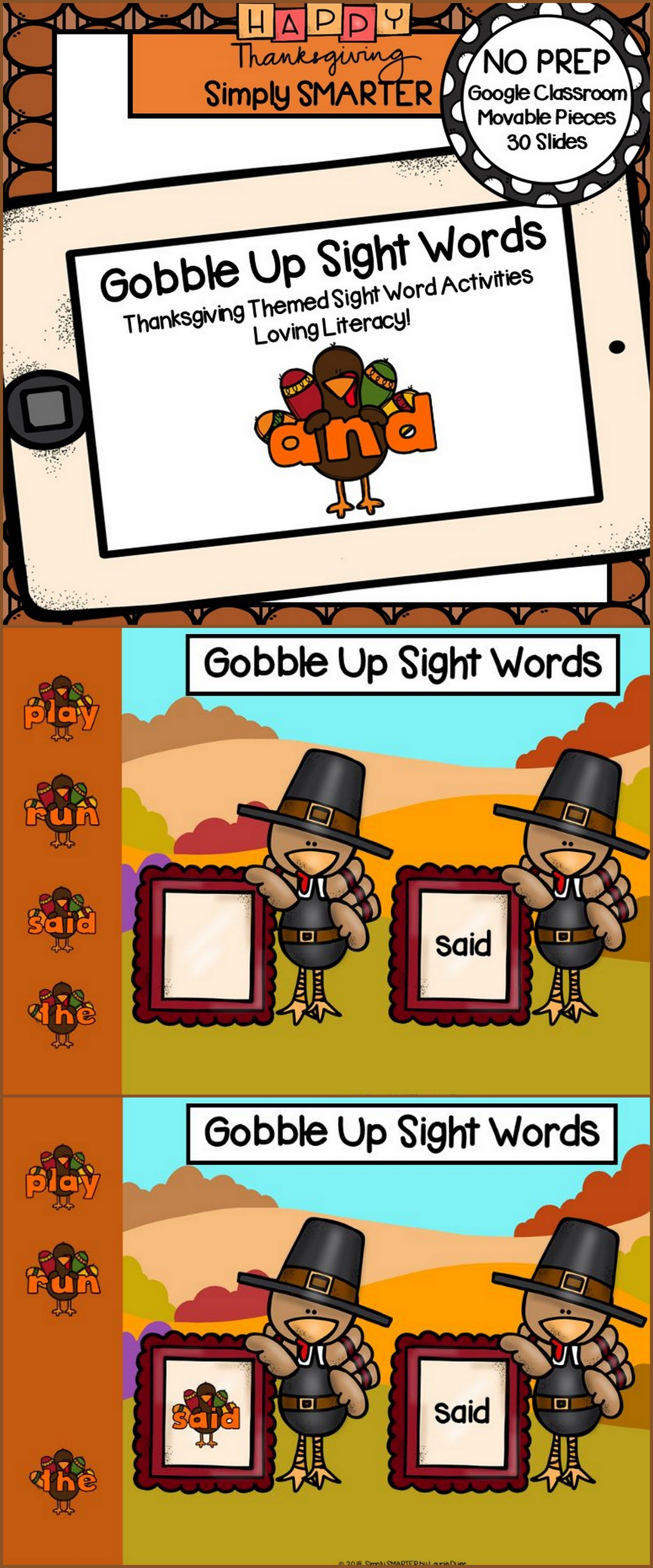 Thanksgiving Themed Sight Word Activities For
