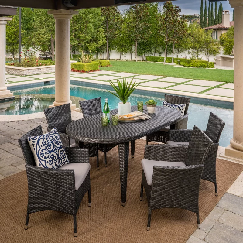 Aquinas 7 Piece Dining Set With Cushions Wicker Dining Set