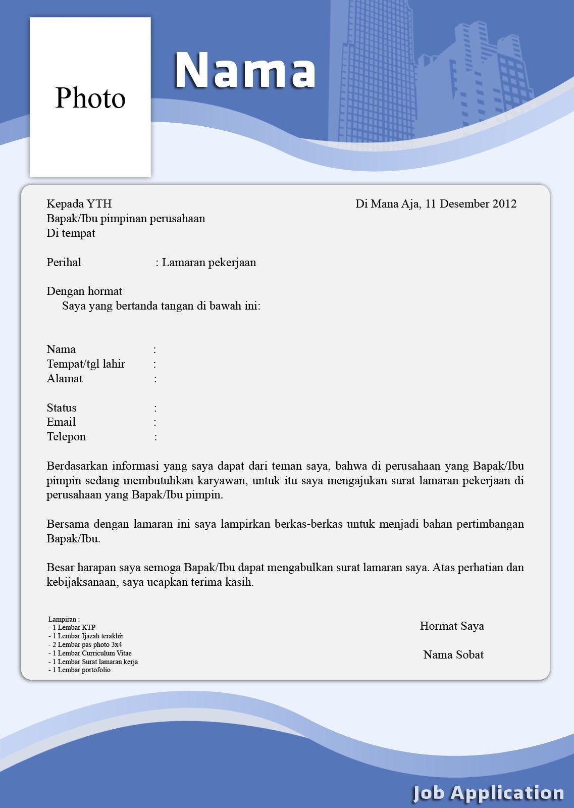 Contoh Surat Lamaran Kerja Kreatif Surat Desain Resume Cv Kreatif