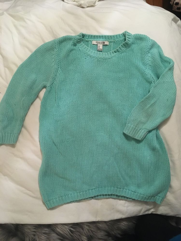 Forever 21 Mint Green Cable Knit Sweater Womens Size M Fashion