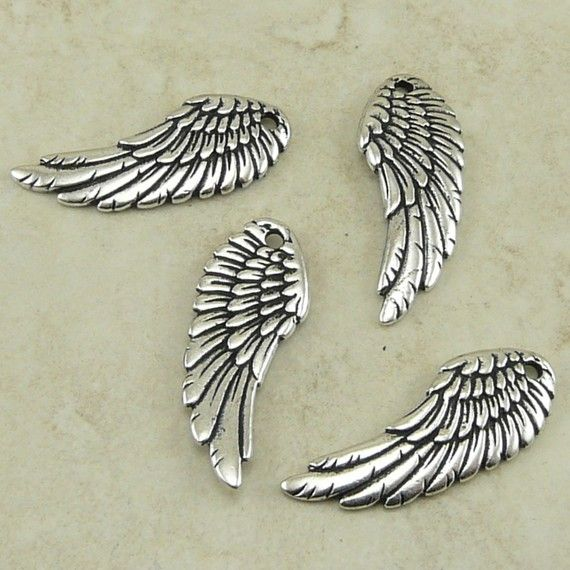 4 TierraCast Angel Fairy Wing Charms  Cupid by Dragynsfyre on Etsy (Craft Supplies & Tools, Jewelry & Beading Supplies, Charms, love heart, wings wing winged, angel, valentine, steampunk steam punk, cupid amour, goth gothic, romance feather, Tierracast charm, Angel wing bead, dr who don't blink, weeping angel, doctor who)