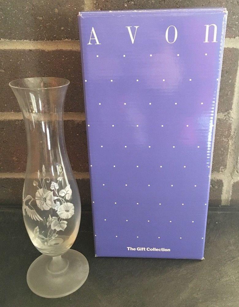 Vintage Avon Hummingbird 24 Lead Crystal Glass Bud Vase 9