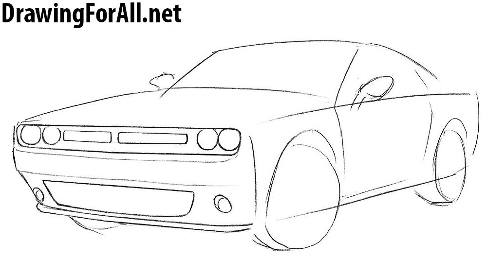 how to draw a muscle car | Car drawings, Cool car drawings, Dodge ...