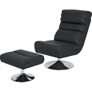 Home Costa Swivel Chair And Footstool Black Black Armchair