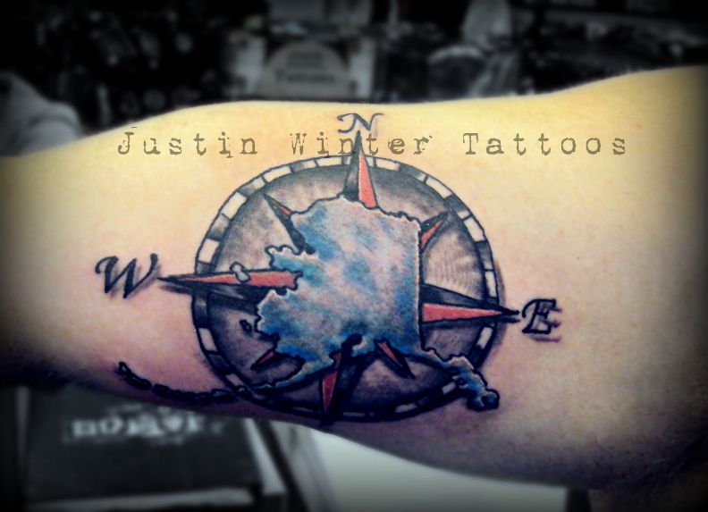 Alaska tattoo with compass rose by justin winter seattle for Tattoo of ak