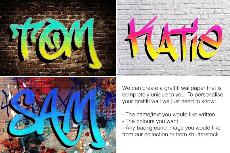 Custom name graffiti wallpaper mural for Cool mural wallpaper