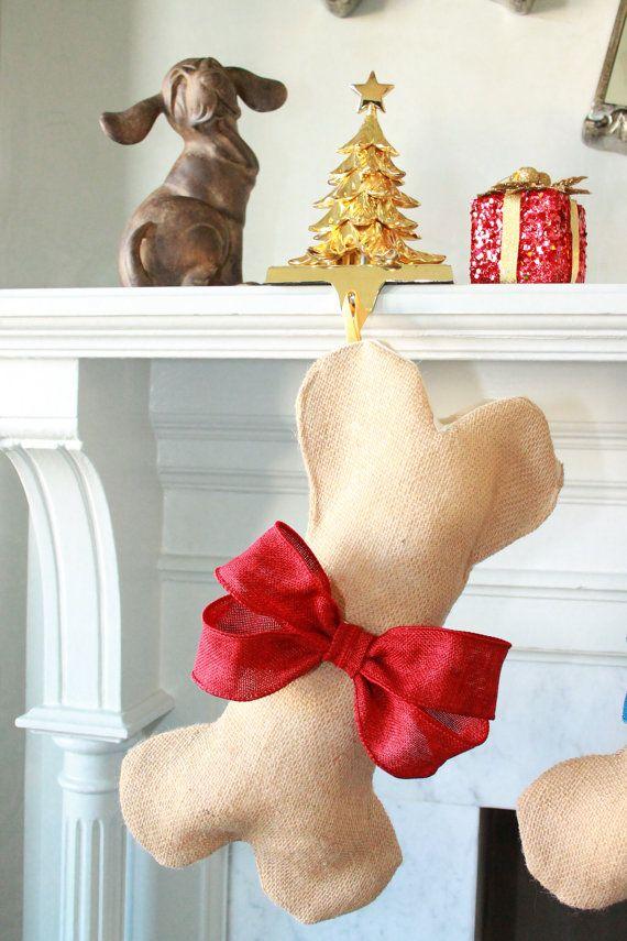 Dog Bone Christmas Stocking, Unique Burlap Stocking, Gifts for Pet