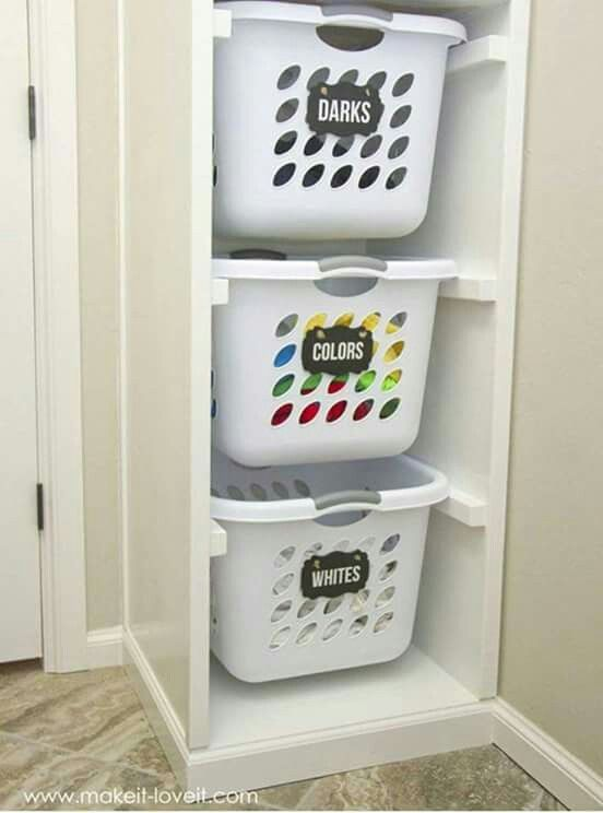 Clever Washing Basket Drawer Which Sorts Into Darks Lights And