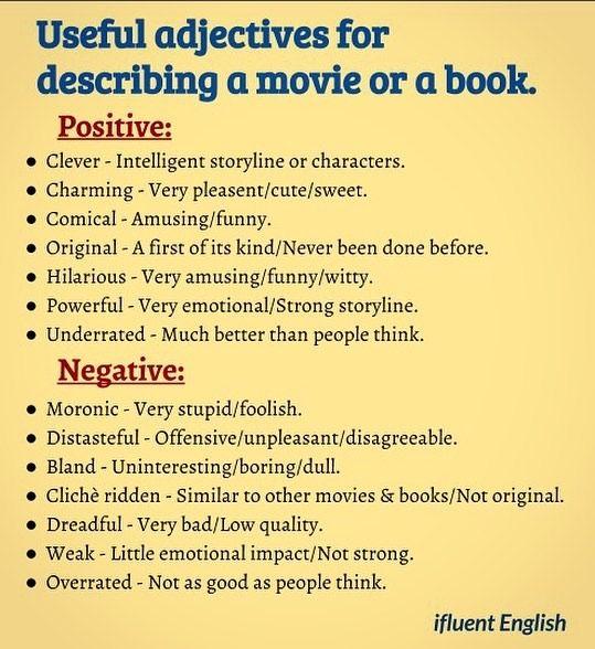 English In Italian: Useful Adjectives For Describing A Movie Or A Book