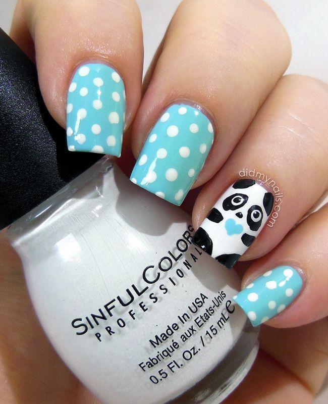 accent-nail-panda-dots.jpg 650×800 pixels   Nail art   Pinterest ...