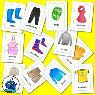 Spanish clothing flash cards - shoes, apron, t-shirt, shorts