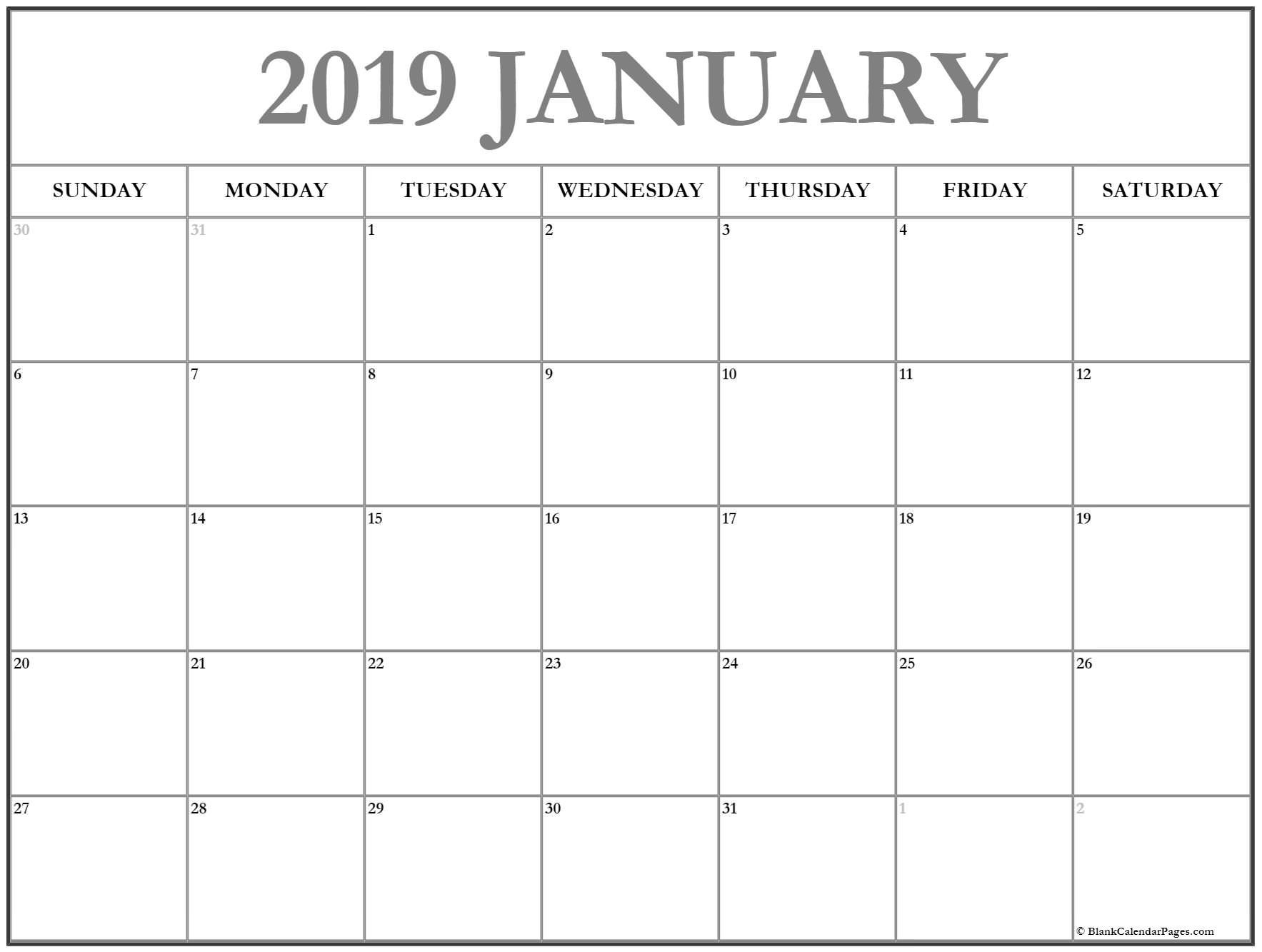 January 2019 Calendar January Calendar 2019 Printable And Free