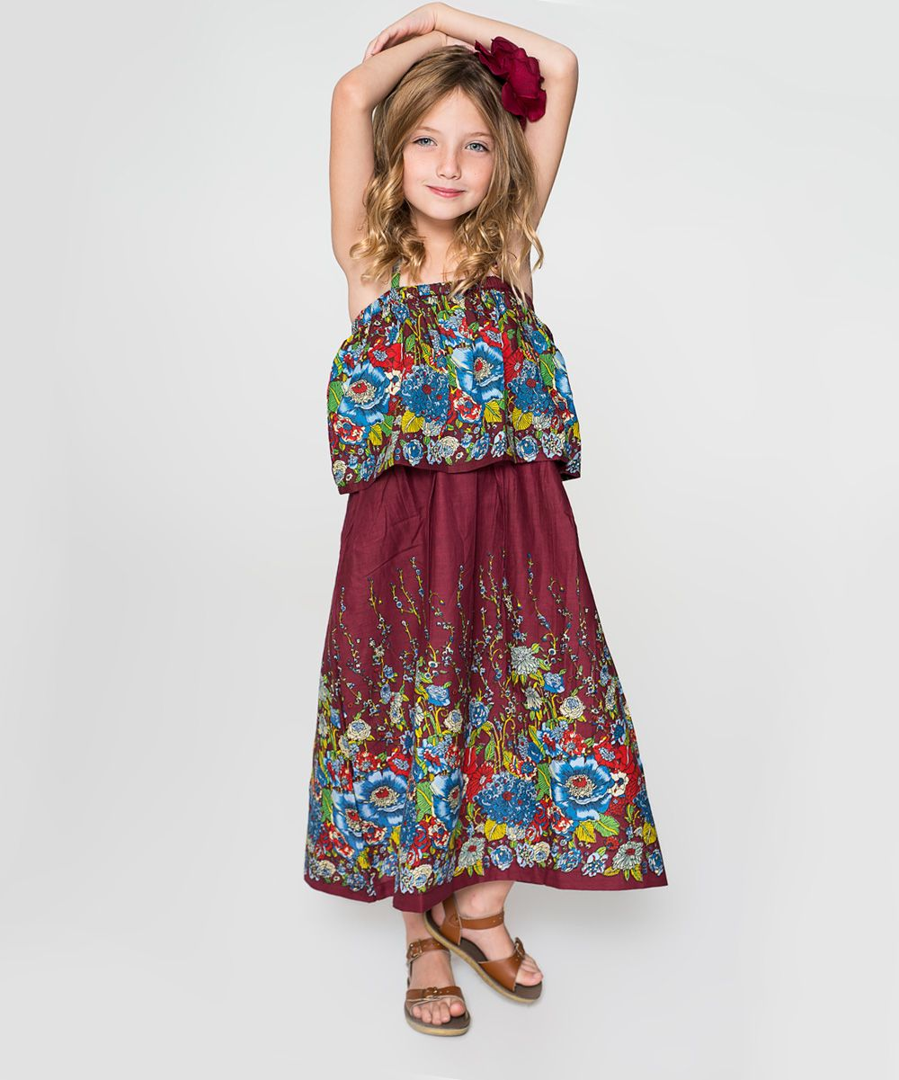 Burgundy u blue floral layered maxi dress toddler products