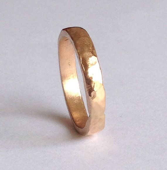 Wedding Ring In Rose Gold 18 Carat Hammered Texture By Firewhite 290 00
