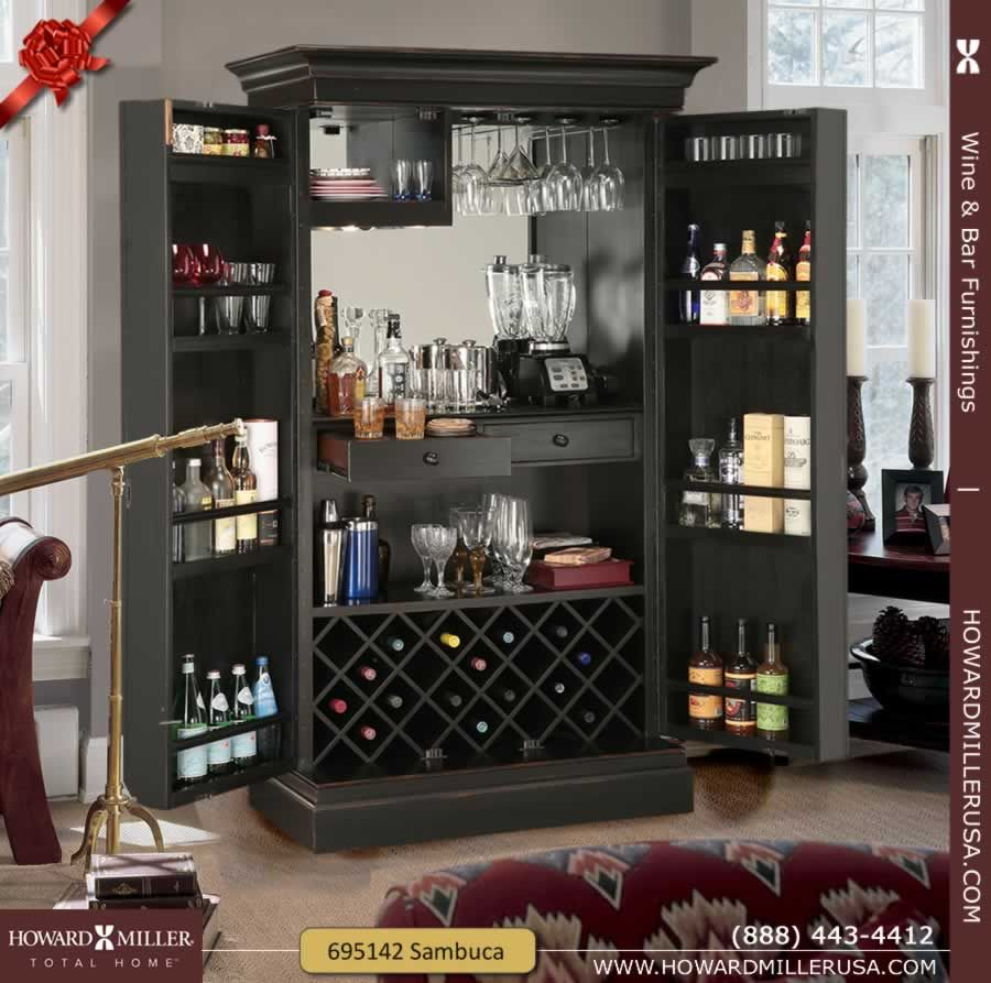 tall decorative panel locking door black wine bar cabinet 695142