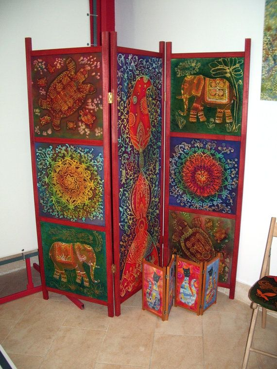 screen room divider Folding Room Divider India painted cotton