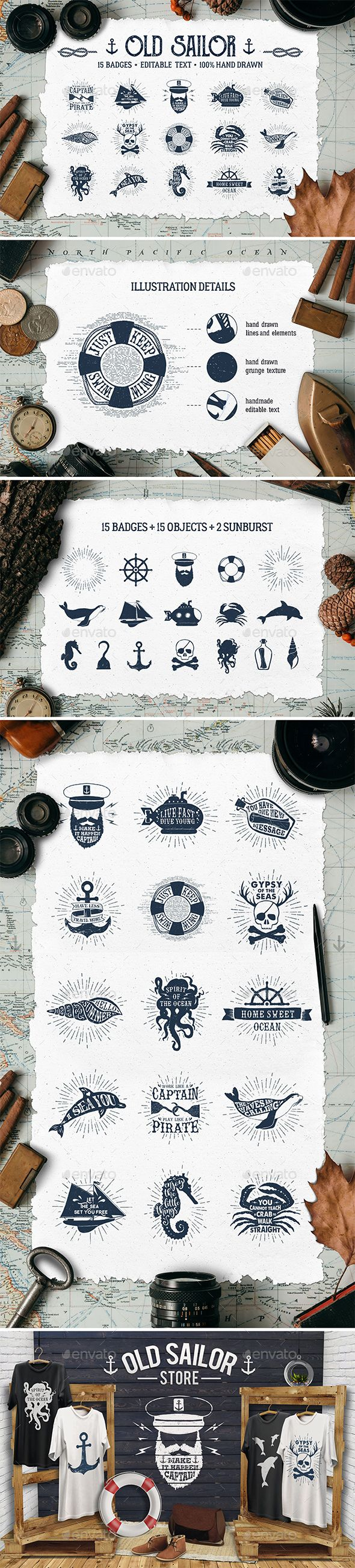 Old Sailor Vintage Badges Vol.1 - Travel Conceptual Download here : https://graphicriver.net/item/old-sailor-vintage-badges-vol1/19257468?s_rank=291&ref=Al-fatih