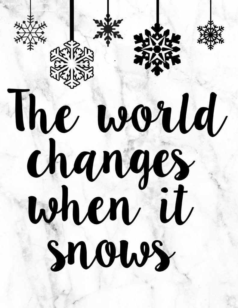The world changes when it snows | Lorelai | Gilmore Girls Quote Free Printable | Winter and Christmas Printable | Pretty as a Peach Blog