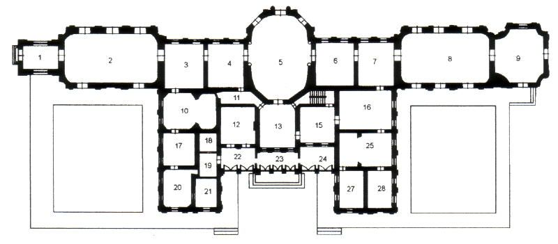 Oranienbaum Palace And Pavillions Ground Floor Plan Architectural Floor Plans Floor Plans
