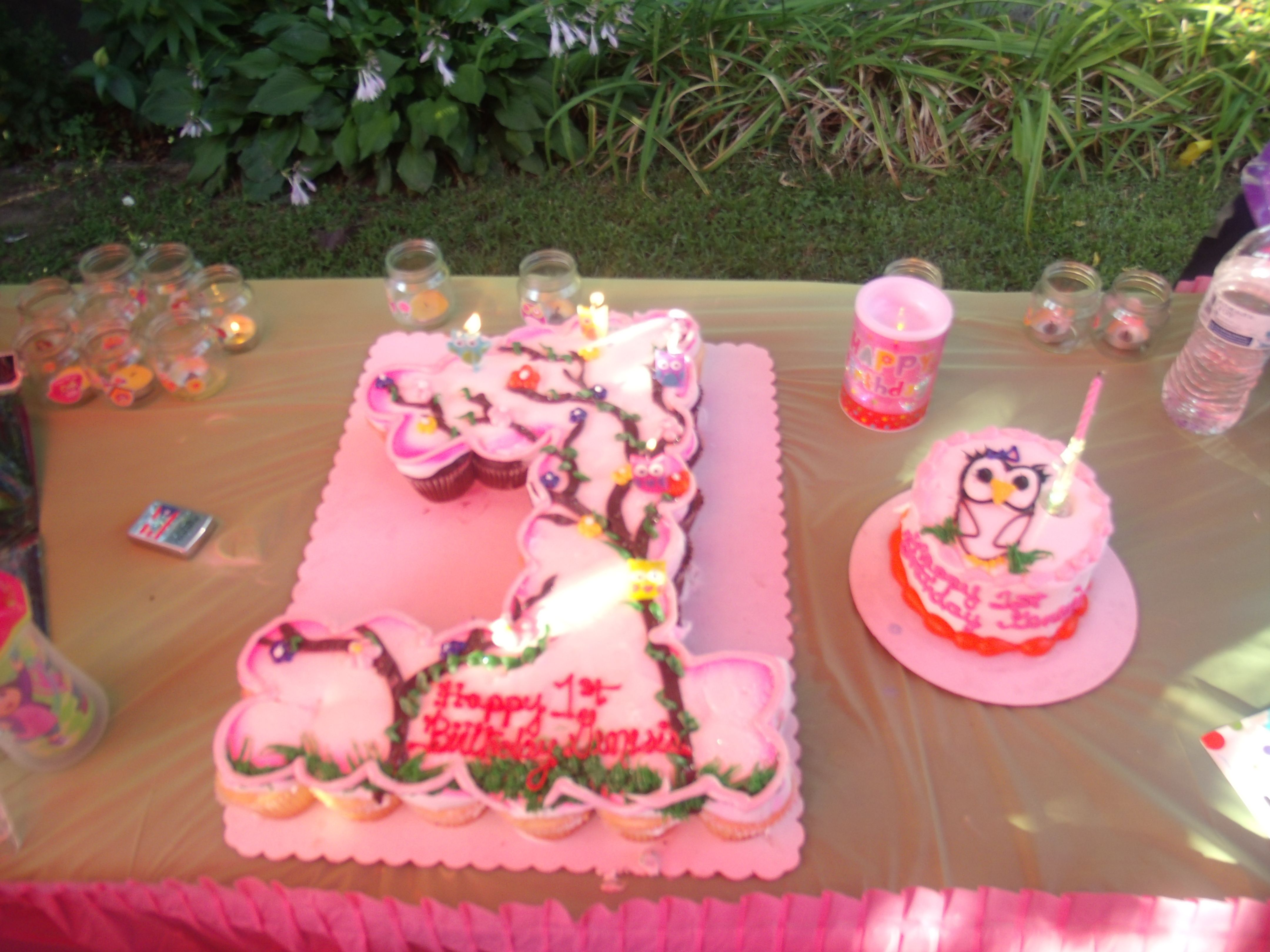 number one cupcake cake look whoos turning one theme pink girl