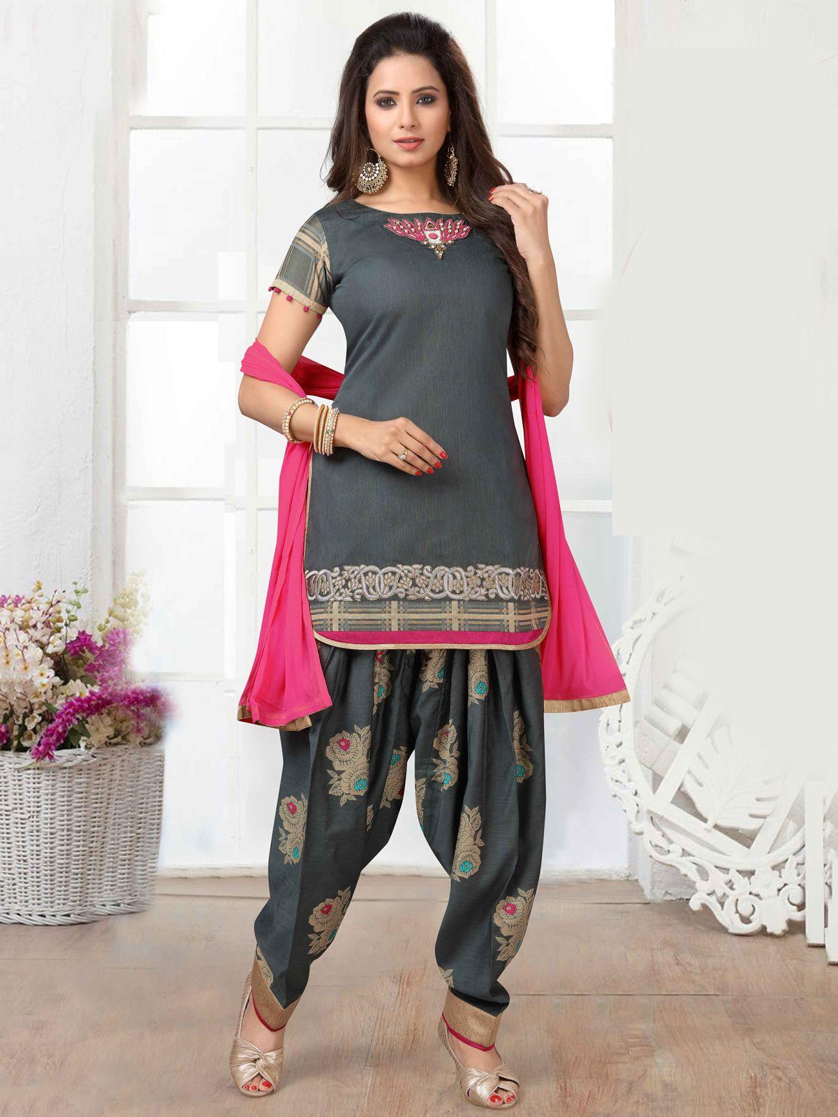 Striking grey chanderi silk festival wear designer salwar suit