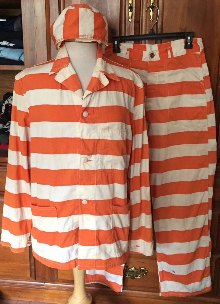 Vintage Orange White Striped Prison Uniform Mens Prisoner Jail