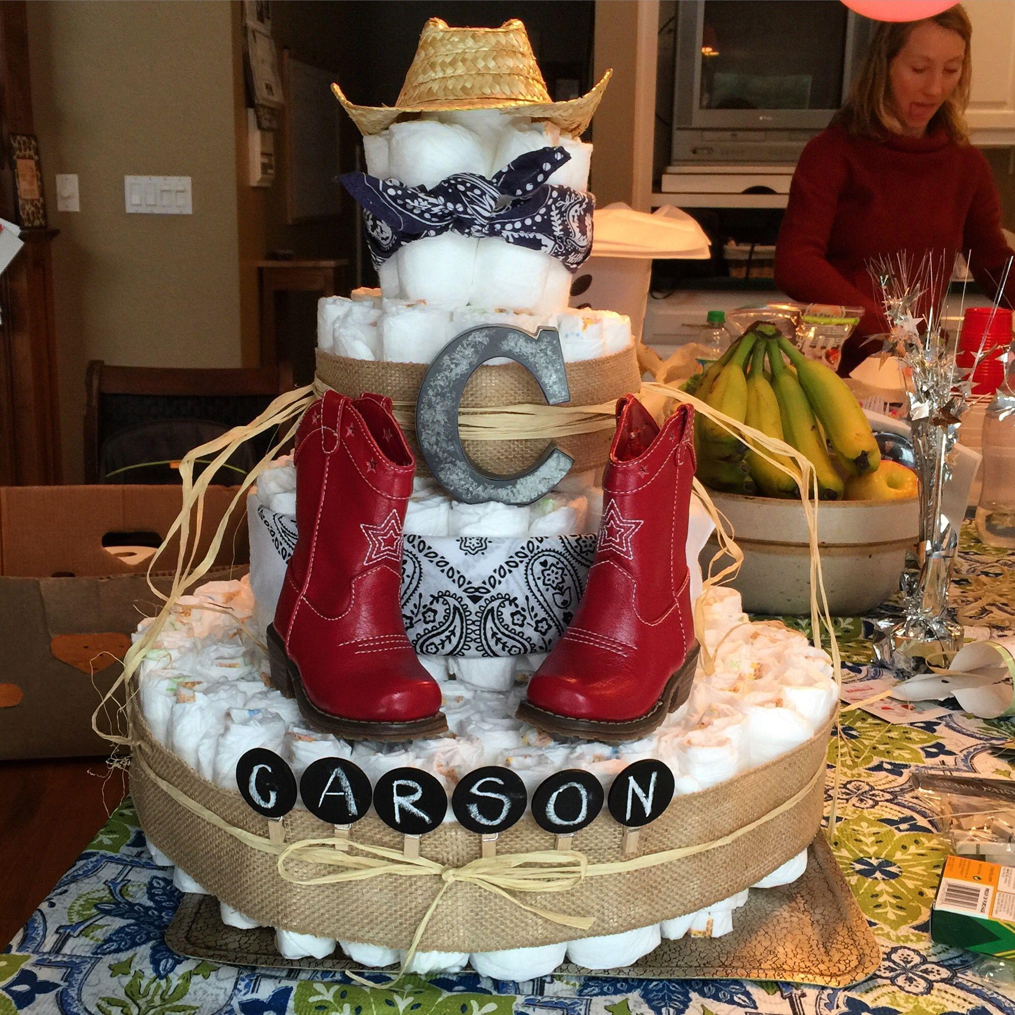 Baby Shower Cowboy Theme: Western Diaper Cake For Western Themed Baby Shower.