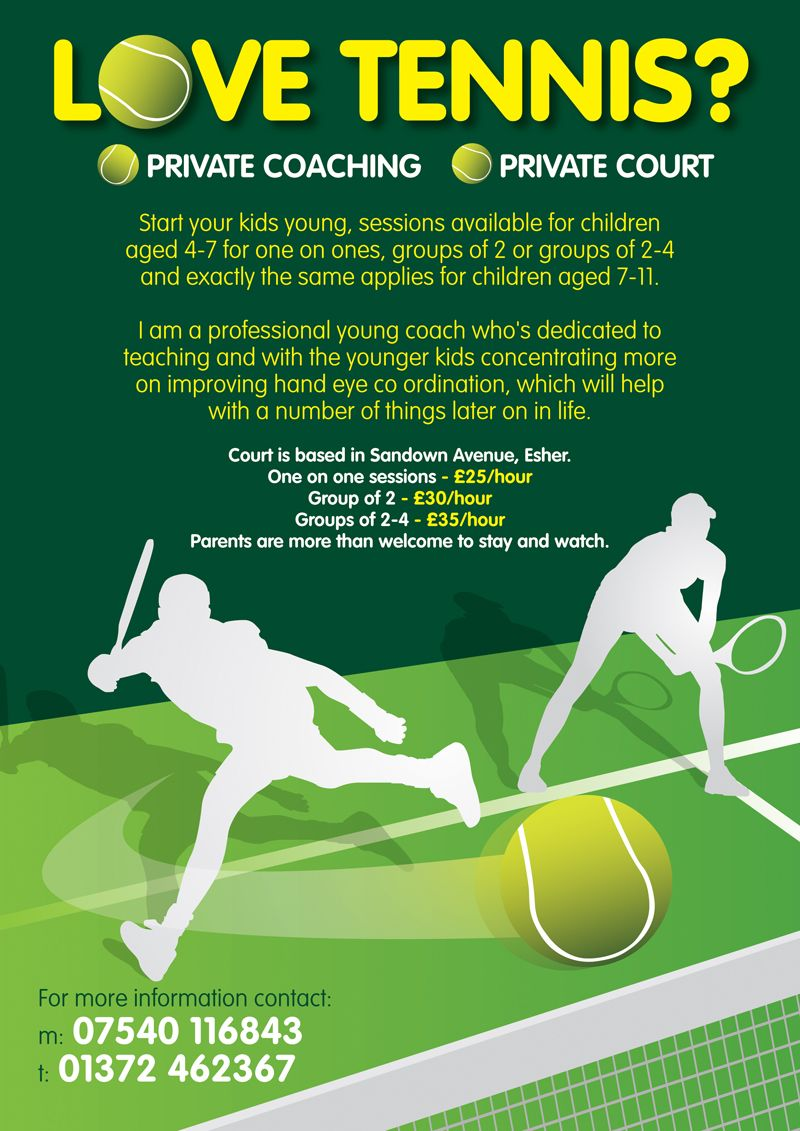 Leaflet design for private Tennis coaching for kids by  www.flyer-designers.co.uk  tenniscoaching  tennisleaflets  tennis eafb774cbd