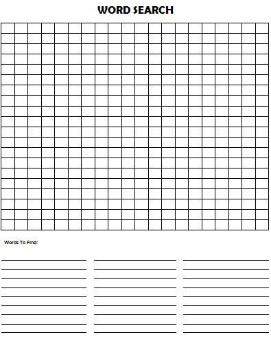 Word-search-puzzle, blank Printables - only free printables - blank puzzle template