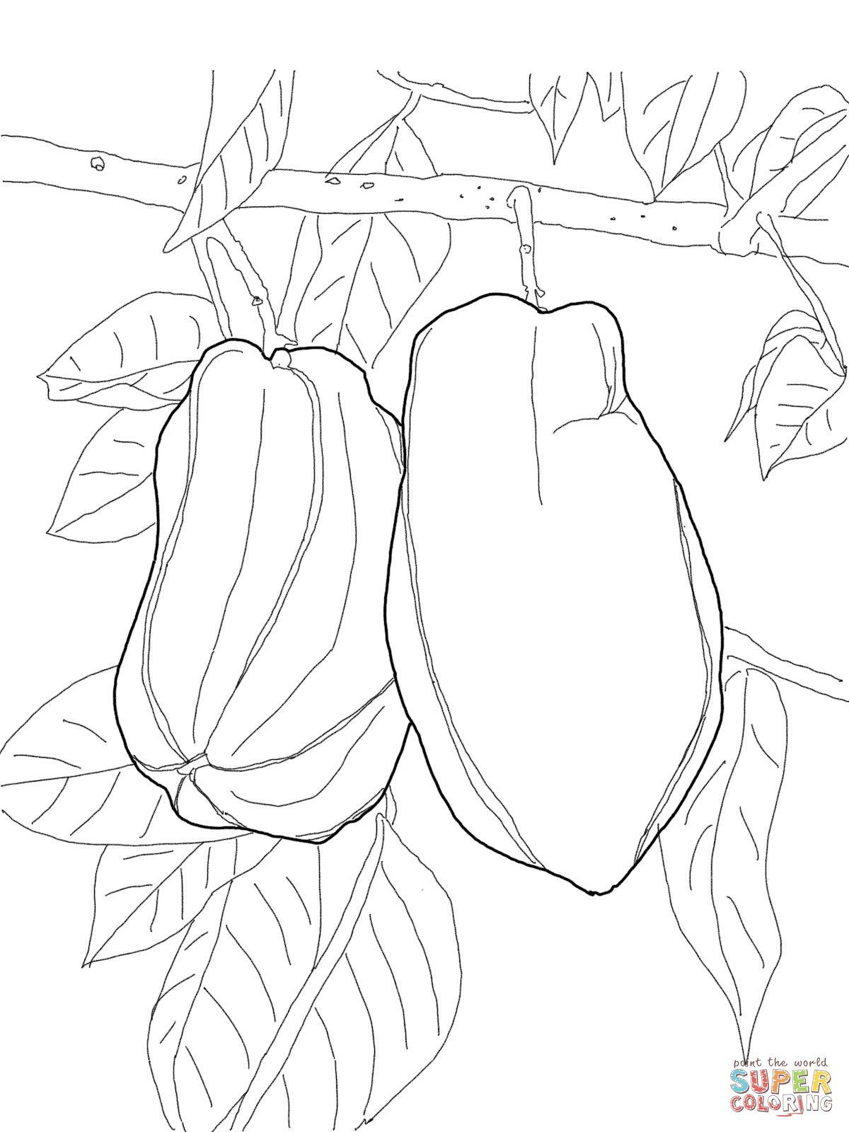 Star Fruit on Tree Super Coloring Art Coloring Pages