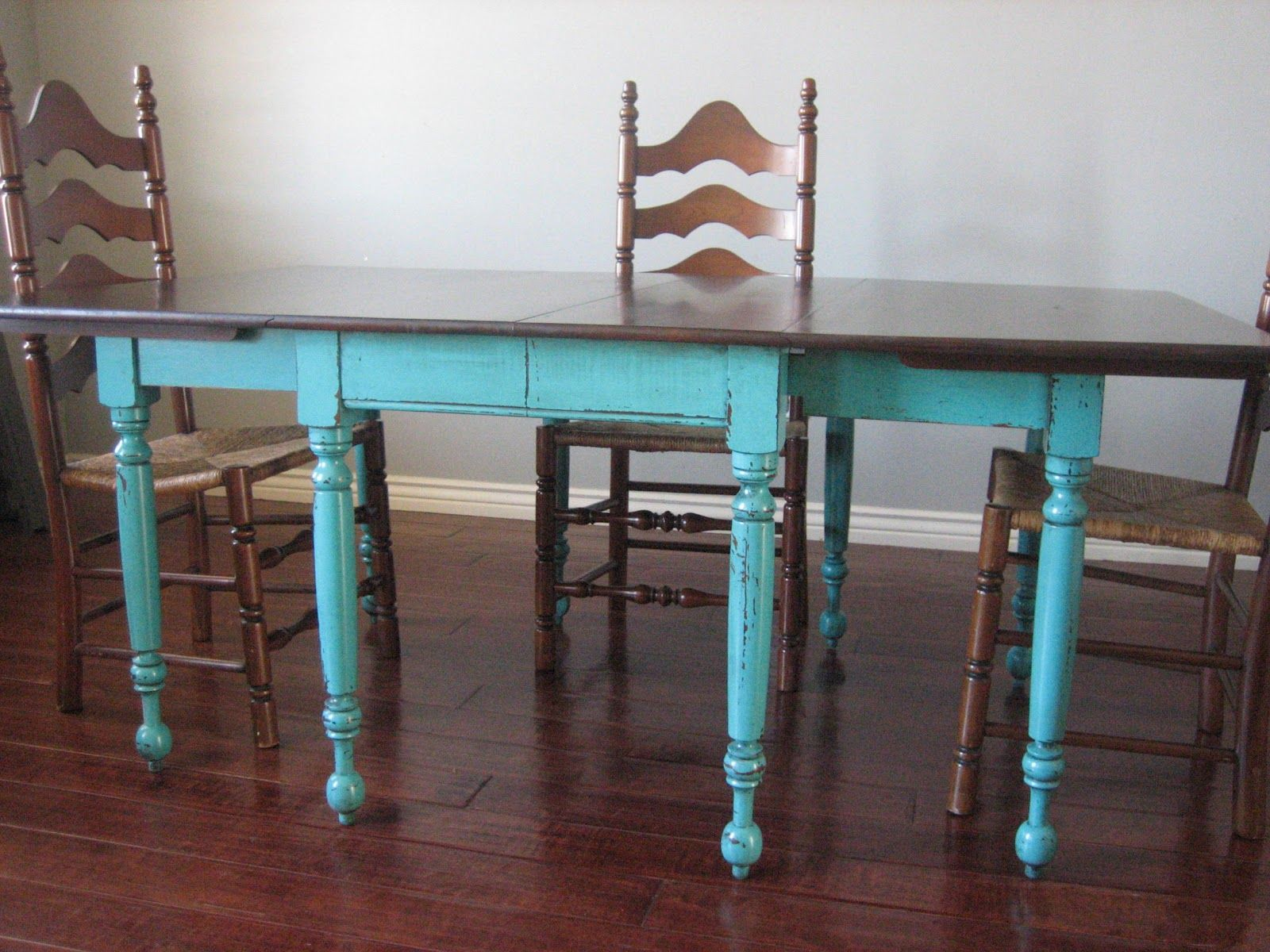 Teal Dining Table Ladderback Chairs Painted Dining Room