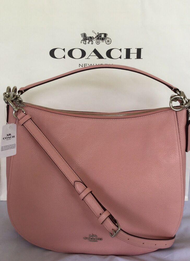 COACH 58036 Pebble Leather Chelsea 32 Hobo Shoulder Bag SVPeony Handbag NWT