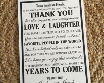 Wedding Welcome Letter Destination Thank You