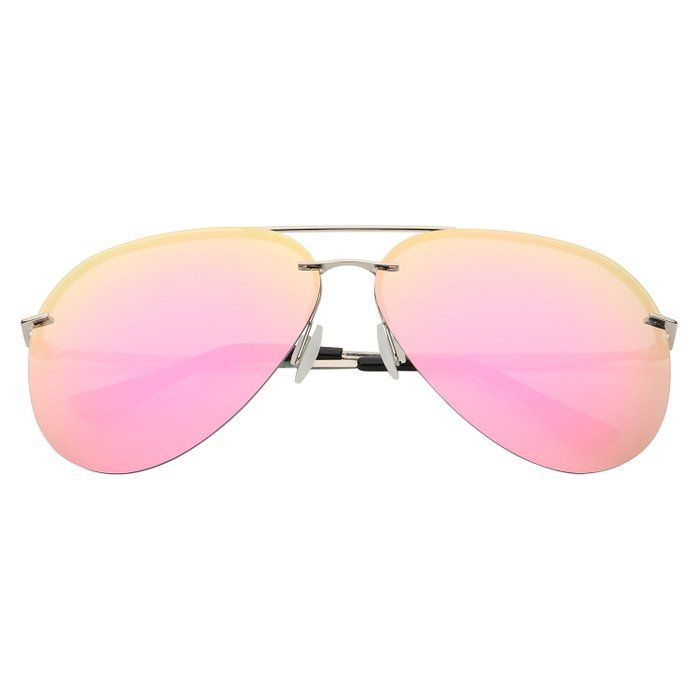 ZHILE® Aviator Polarized Sunglasses for Men and Women 62mm ZH350 (Silver frame Pink mirrored lens)