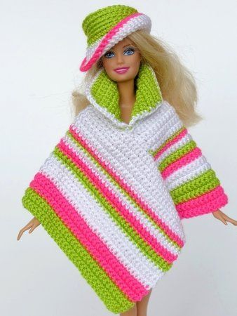 Häkelanleitung: Poncho in verschiedenen Varianten + Hut | Barbie ...