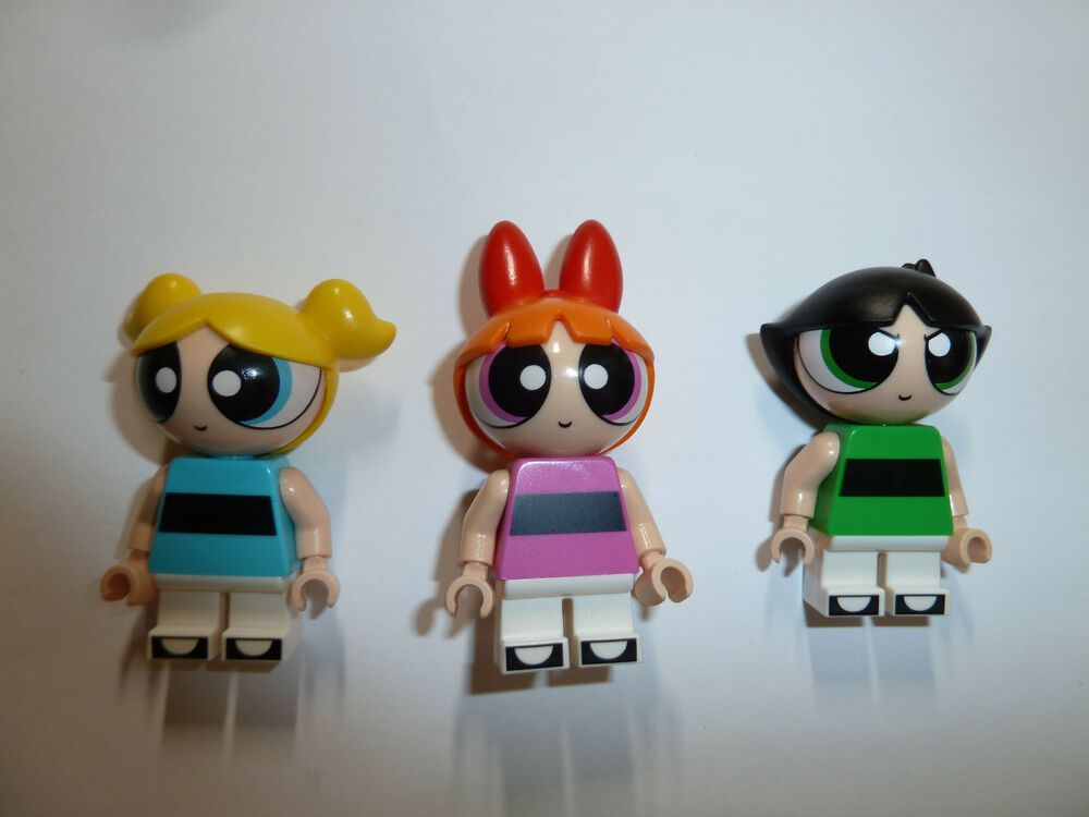 Blossom Lego Power Puff Girls Minifigures Buttercup Bubbles  SET OF 3 NEW