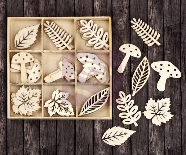"""Laser-cut Wood Leaves and Mushrooms (.75x1.5"""" and 1.5x1.75"""") in a wood box, $6  {scrapbook.com}"""