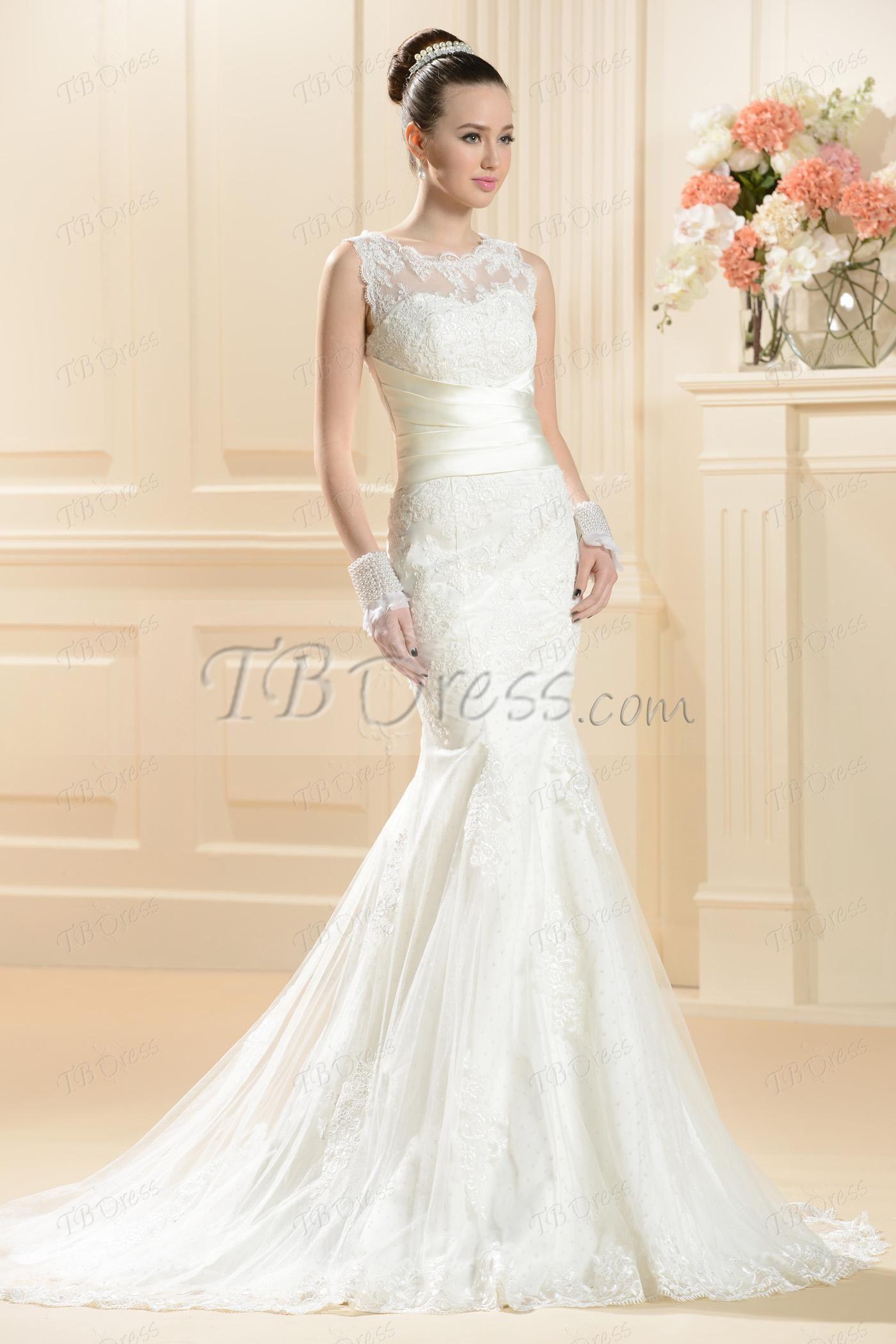 Gorgeous Trumpet/Mermaid Chapel Train Lace Wedding Dress http ...