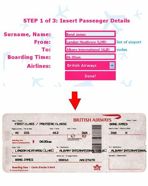 Ticket-O-Matic Is the Best Fake Airline Ticket Generator Pinterest