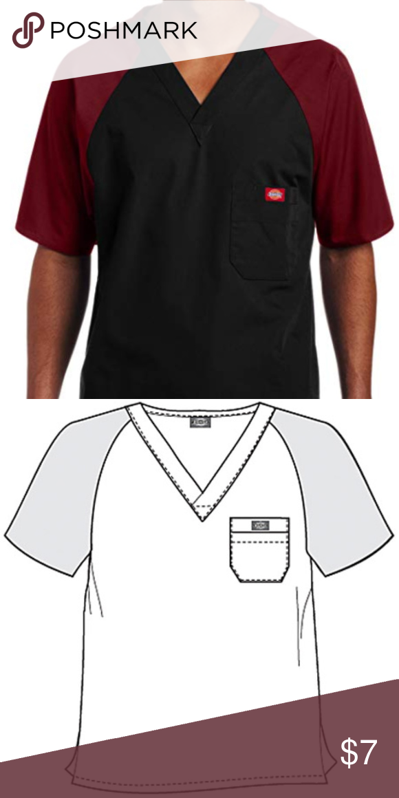 4184a9e7af4 Dickies EDS Men Single Pocket Raglan Scrub Top 816107 Color BWCZ Size  Medium Color block v-neck Raglan sleeve Layered chest pocket Center back  length: 29 ...