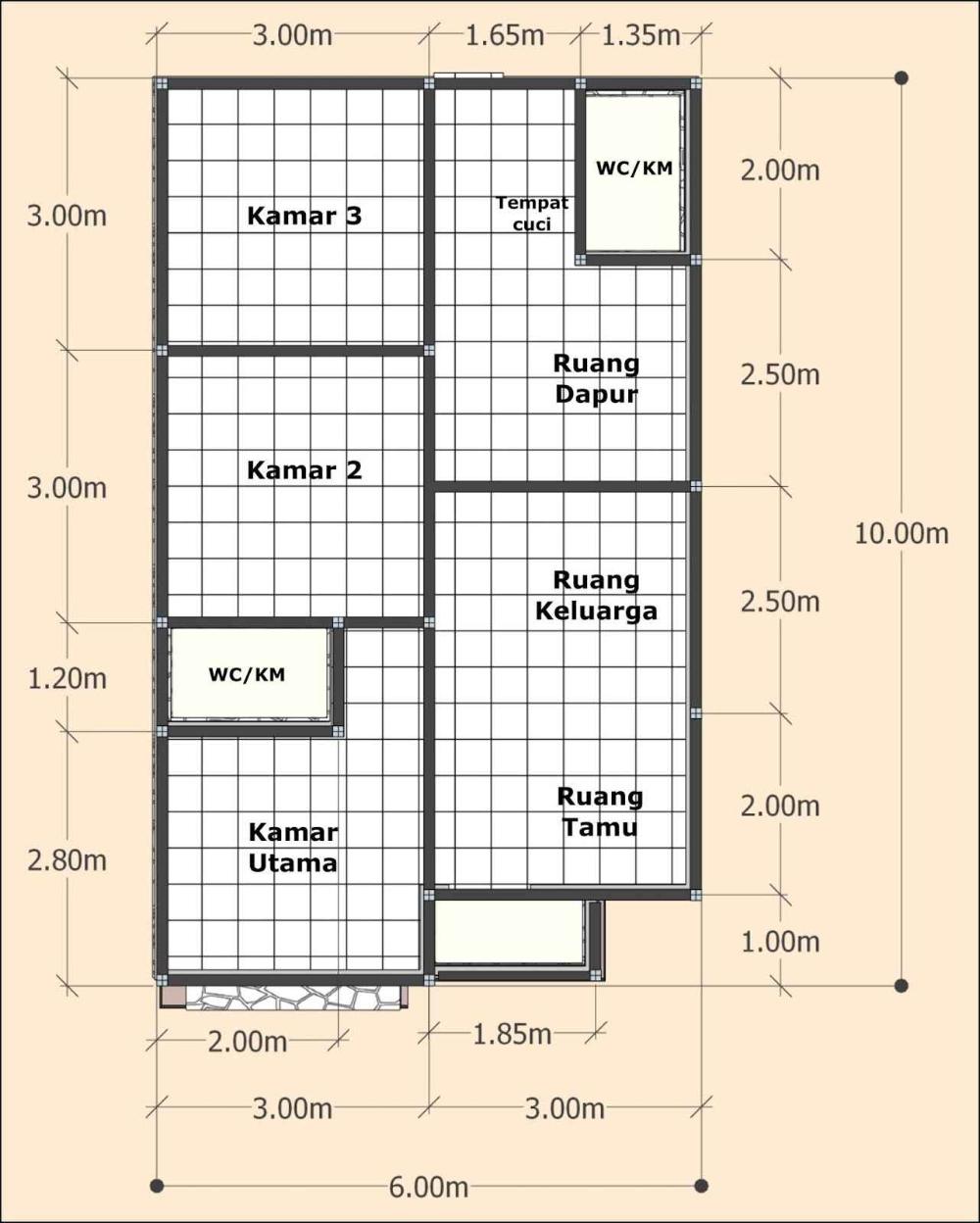 Rumah Minimalis 6x8 1 Lantai : rumah, minimalis, lantai, Desain, Denah, Rumah, Sederhana, Terbaru