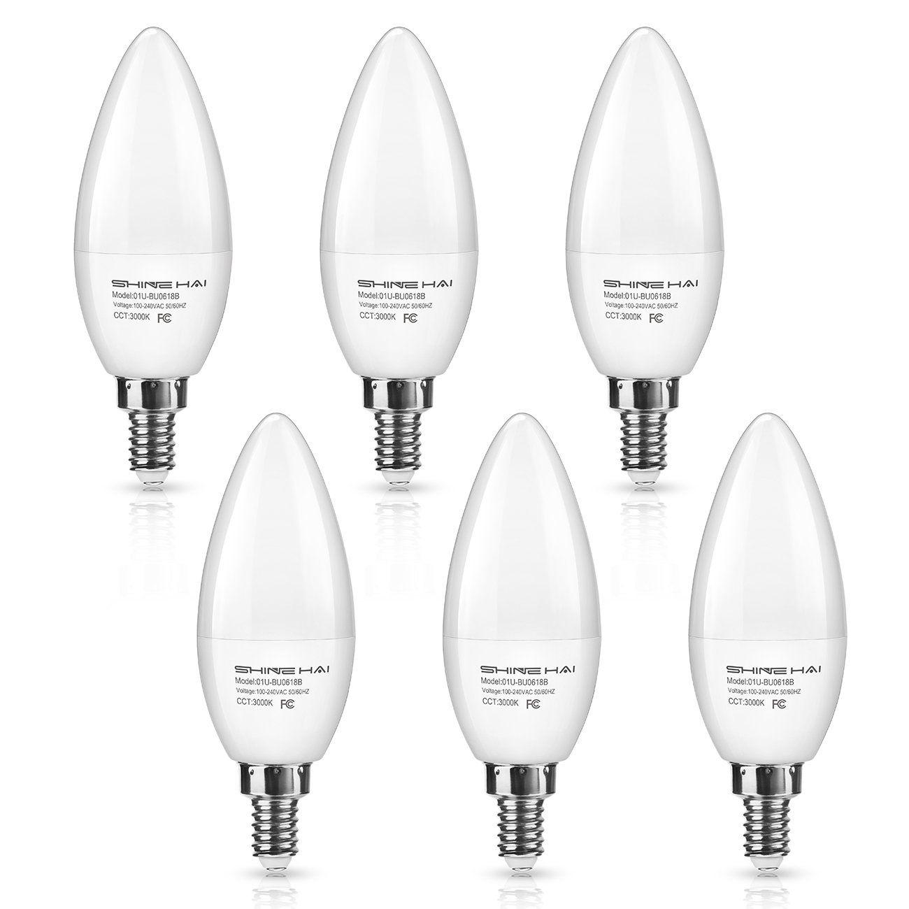 led lights for chandelier. SHINE HAI Candelabra LED Bulbs 50W Equivalent, 500 Lumens 3000K Warm White Decorative Candle Light Led Lights For Chandelier C