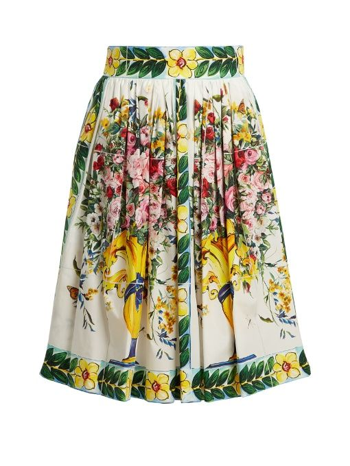 55c280374 DOLCE & GABBANA Majolica-Print Cotton Skirt. #dolcegabbana #cloth #skirt