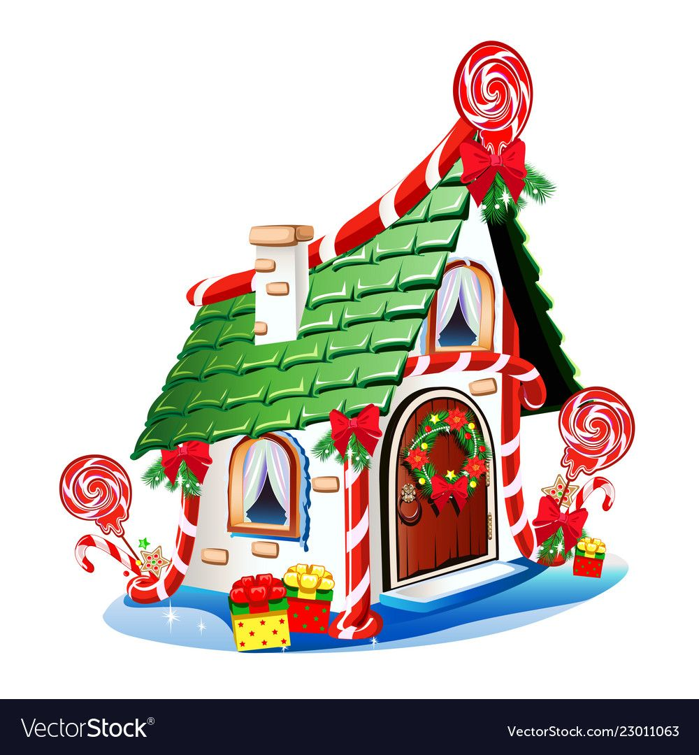 Christmas house with festive decorations and vector image