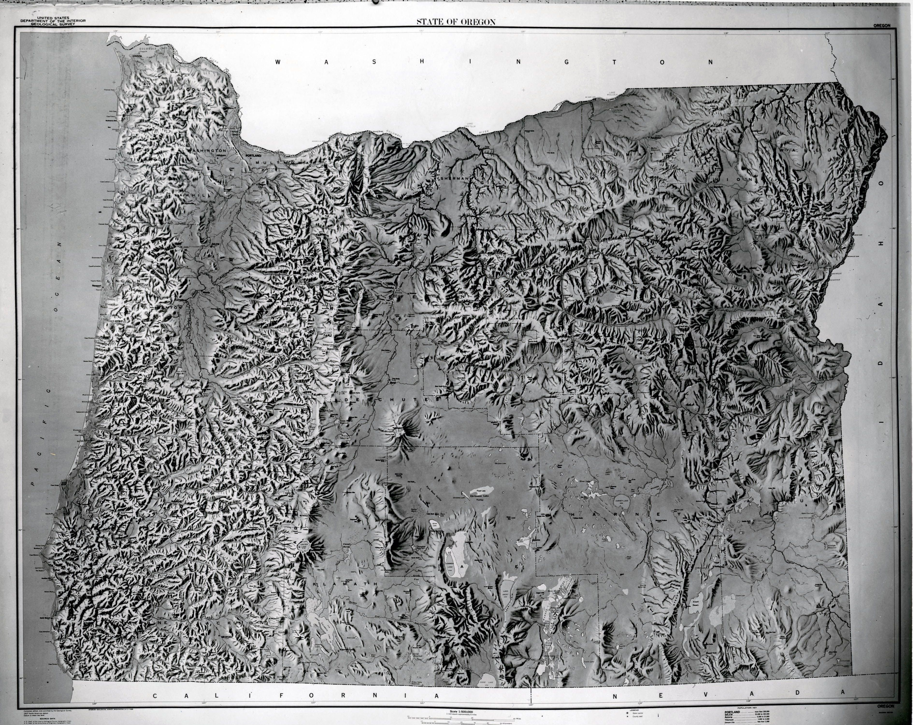 USGS topographical map of Oregon 1966 USGS