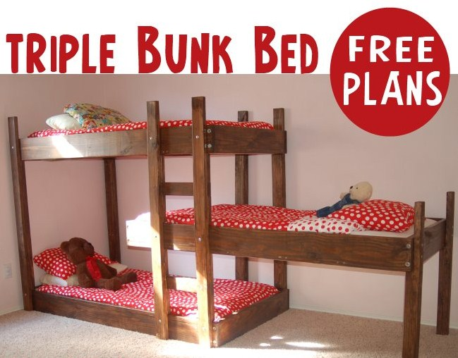 I Need A Dog Size One Of These...DIY Triple Bunk Bed Twin