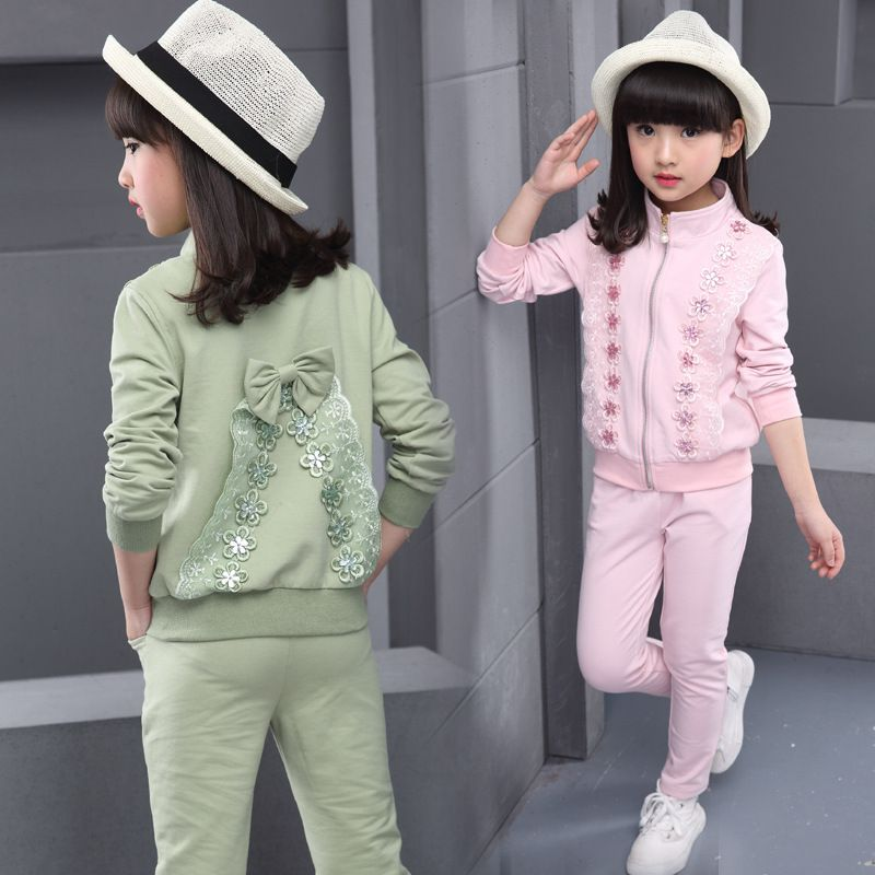 df5242f3e9a3 Kid sports wear girl s autumn sets children sports suit Girls ...