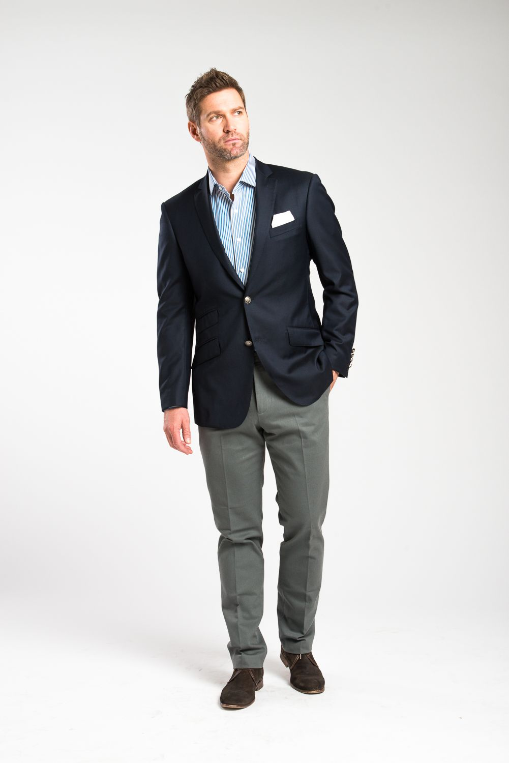 A Wilfred Newman Navy Blazer, and gray Twill pants