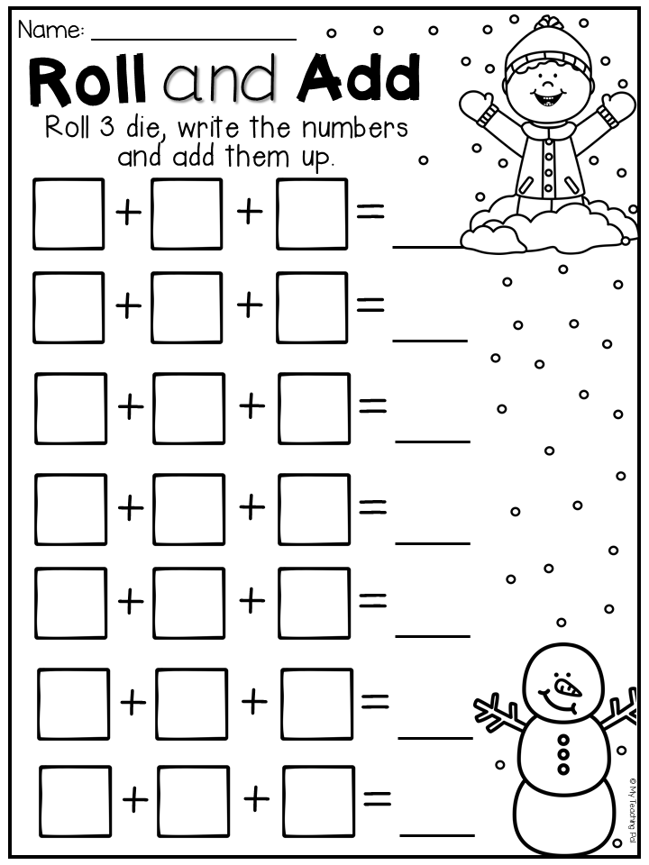 Winter Roll And Add Worksheet Students Roll 3 Die Write The Numbers And Add Them All Up Preschool Winter Math Winter Math Worksheets Holiday Math Worksheets